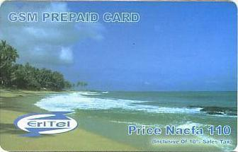 Eritrean telephone card - EriTel 100 Nakfa   prepaid - Red Sea shore