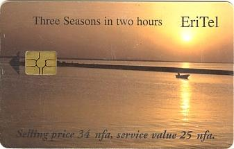 Eritrean telephone card - EriTel 25 Nakfa - Red Sea Sunset
